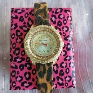 Betsey Johnson Diamond Leather Leopard Watch